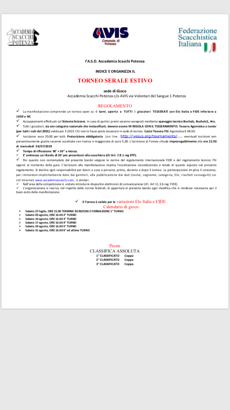 Calendario Tornei Scacchi.Torneo Serale Estivo Accademia Scacchi Potenza
